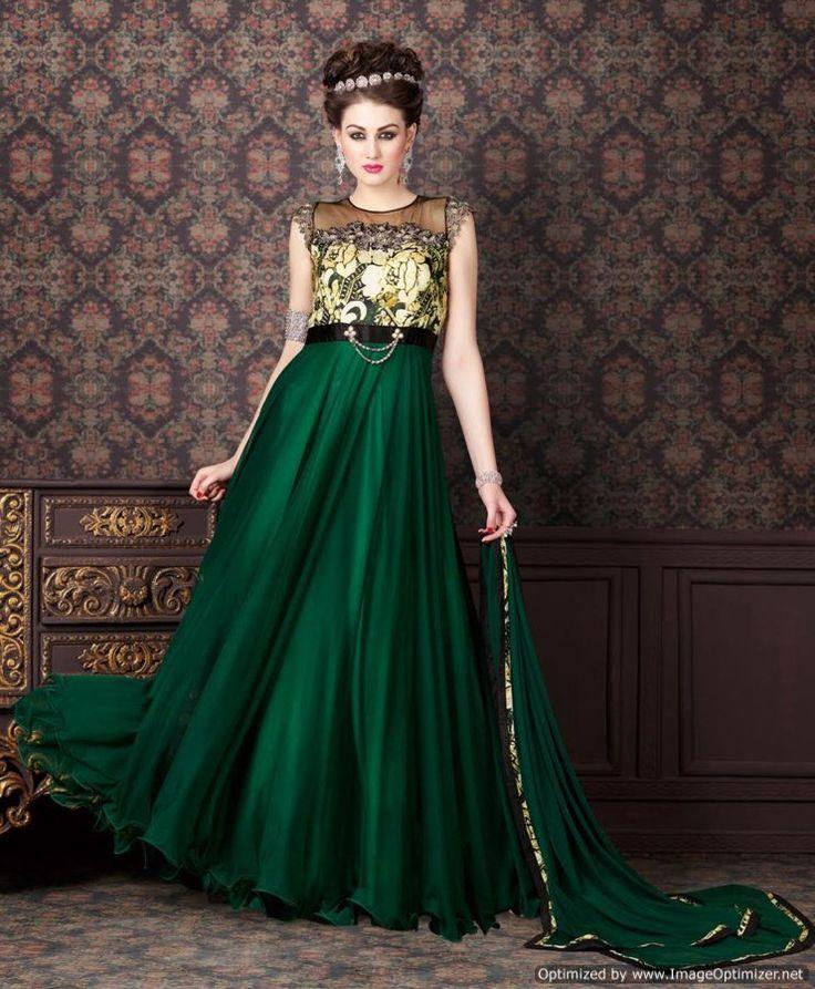 #Green Long #Silk Anarkali Gown Suit » Shoppers99 #anarkalisuit #anarkaligown #gownsuits #partywear #partydress #eid