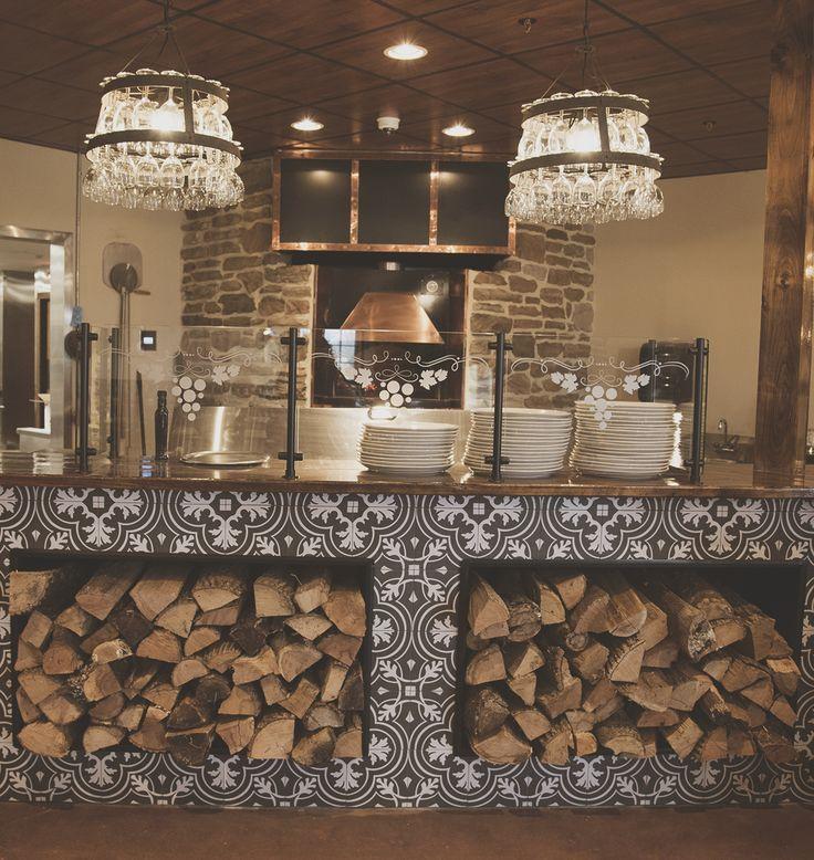Wood Pizza Oven   Black U0026 White Tile   Restaurant Interior Design