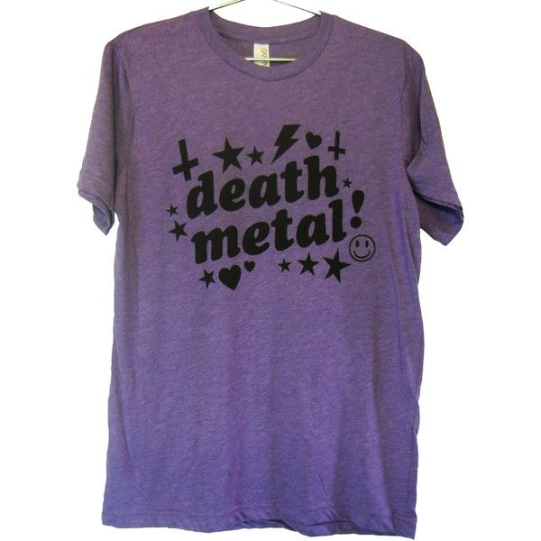 Very Fun Death Metal T-shirt UNISEX sizes M, L, XL ($20) ❤ liked on Polyvore featuring tops, t-shirts, shirts, tees, purple top, metal shirts, unisex tees, unisex t shirts and purple shirt