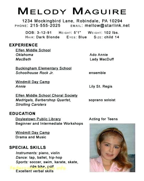 Image result for acting resume template for kids resume Pinterest