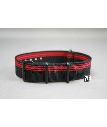 Black Red Ducati G10 NATO strap, PVD buckle and loops (black)