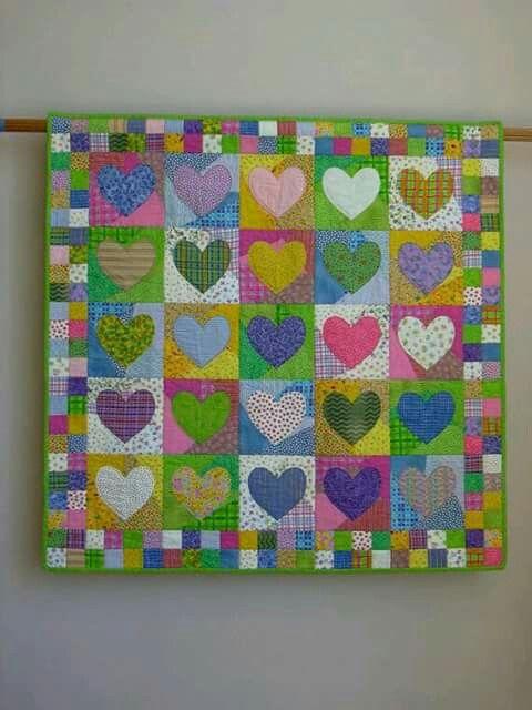 Quilt corazones   Patchwork   Pinterest   Quilts