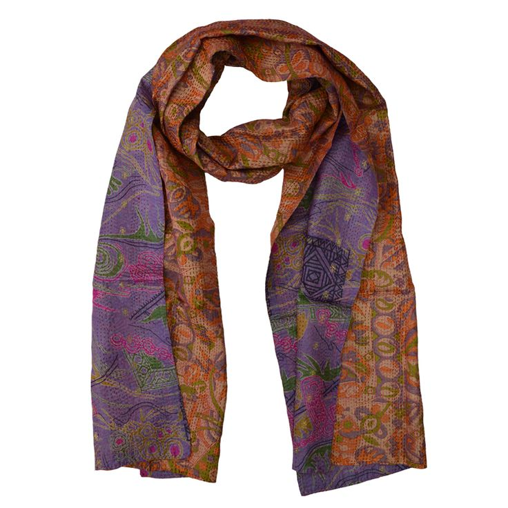 Two complementary upcycled saris are pieced together and the surface is then covered with traditional Indian kantha stitching, adding strength and texture. Available from www.yourssustainably.com