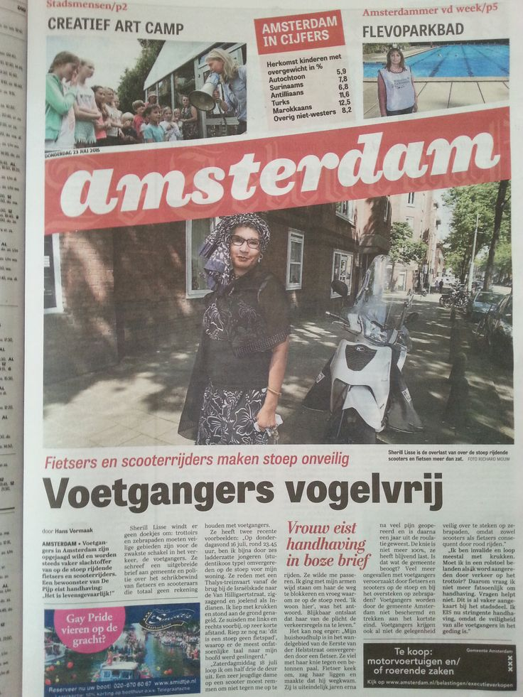 Newspaper article about the unsafety of pedestrians in Amsterdam, caused by biking and scoot-motorbiking on the sidewalk.