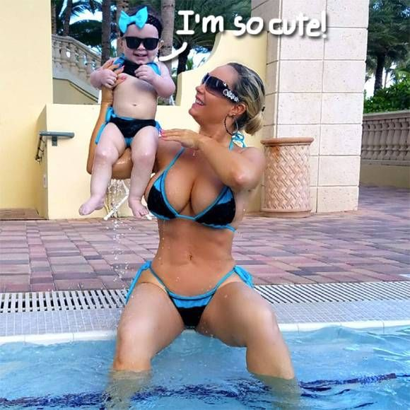 cool Coco Austin Frolics With Baby Chanel In Matching Swimsuits — Cuteness!