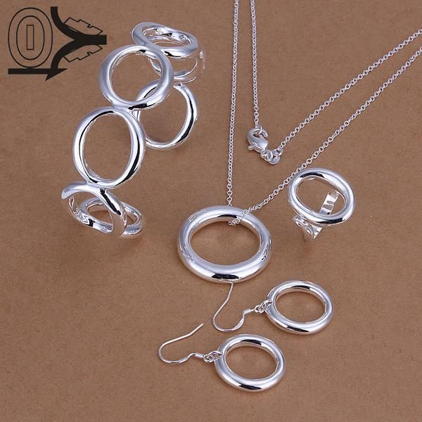 Hot Sell Silver Plated Jewelry Set,Cheap Bridal Party Sets,Fashion Big O Silver Necklace Bangle Ring Earring Four-piece