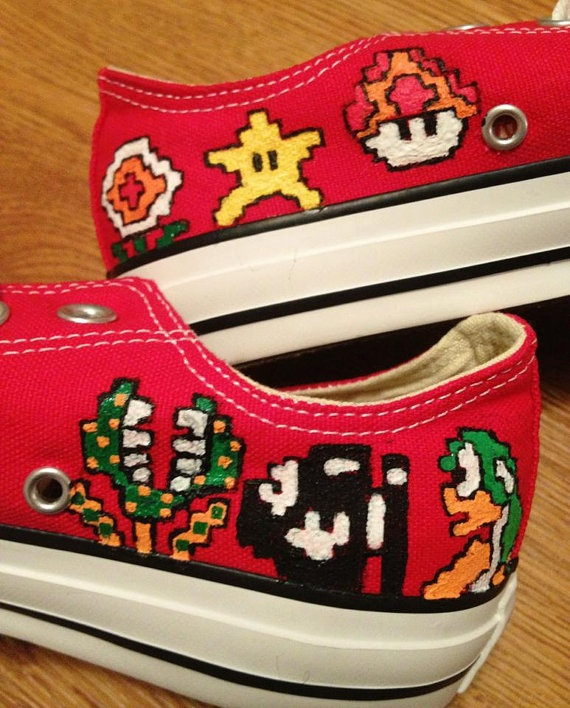 Mario Luigi Hand Painted Converse Shoes by CandysCustomPaints, $100.00