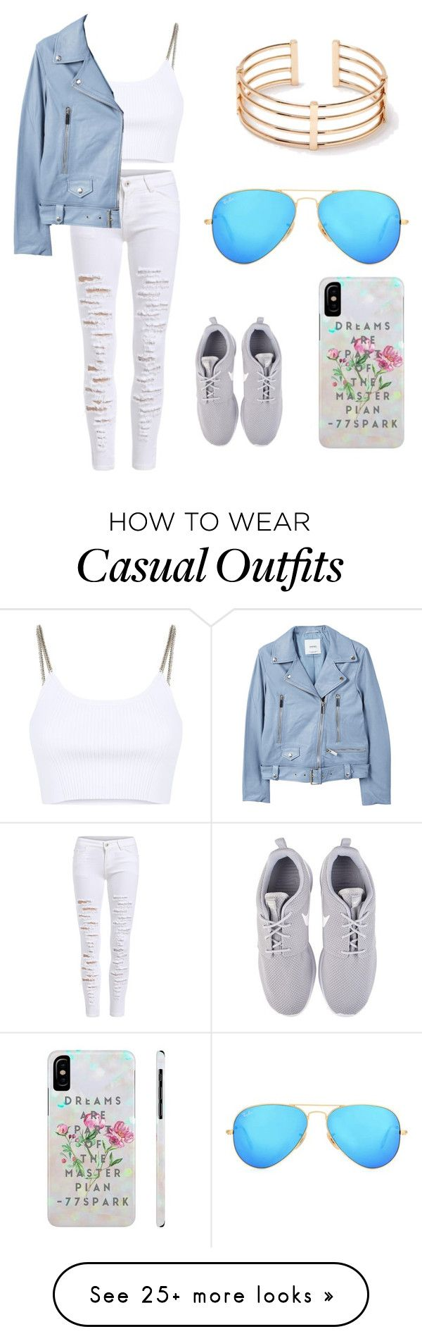 """Casual chic"" by iiribenaii on Polyvore featuring Alexander Wang, MANGO, NIKE, Ray-Ban, chic and white"