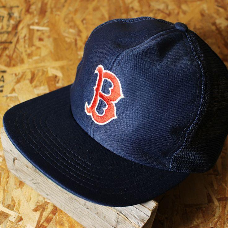 古着MLBボストン・レッドソックスネイビー(紺)ベースボールメッシュキャップ/MLサイズ/cap-83