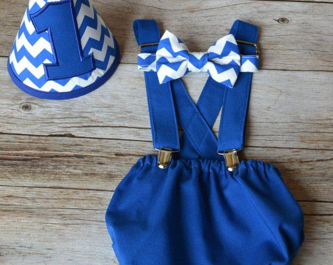 Chico pastel romper traje, Chevron azul y blanco, niño pastel Smash, chico 1 Set de cumpleaños, 1er cumpleaños, 1er cumpleaños, lazo y cubierta de pañal