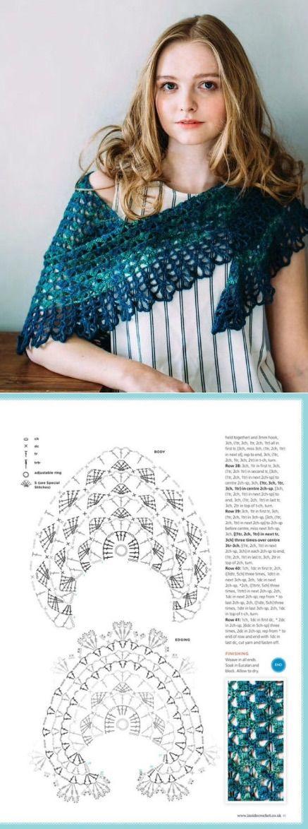 Платок крючком, #haken, gratis schema, omslagdoek, #crochet, free chart, wrap…