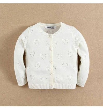 Jual sweater bayi anak Mom and Bab Cardigan Sweater - White Love