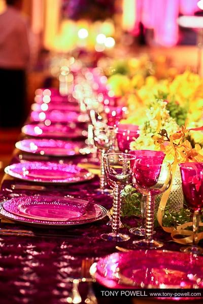 """""""Festa della Donna"""" gorgeous fuschia plate settings."""