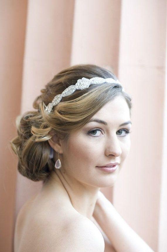 Strass Stirnband, wunderschöne 1920er Jahre Flapper Stirnband Hochzeit Stirnband, Crystal Ribbon Krawatte auf Headban