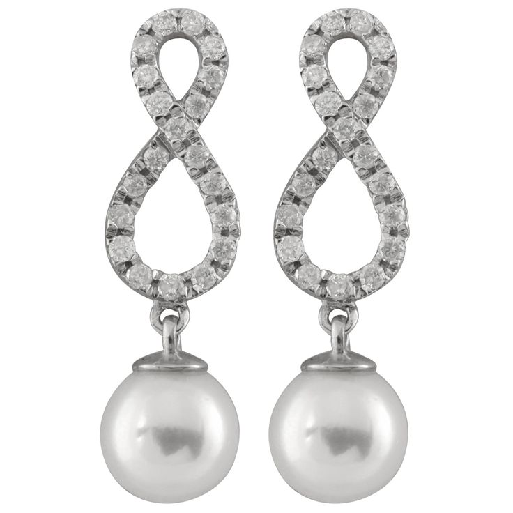 Fancy 14k White Gold Earrings With 7-8mm Chinese Cultured Pearls And 0.40ct Diamonds.
