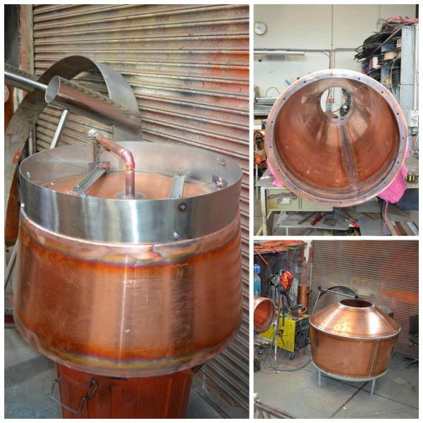 Knapp Lewer Contracting: copper pot stills for the whisky industry, made in Tasmania. Article and photo by Roger Findlay for Think Tasmania.
