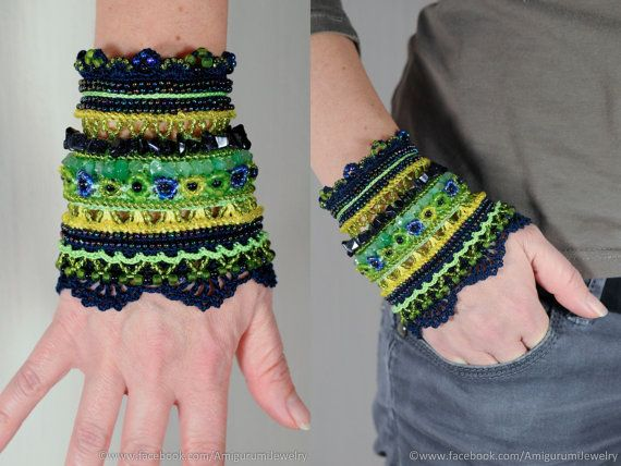 SALE Ink Green Yellow crochet bracelet. by KaterinaDimitrova