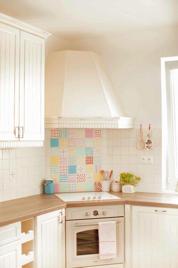 Idea estupenda para decorar la cocina #pintandoazulejos