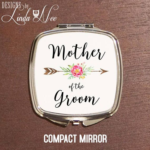 Mother of the Groom Compact Mirror, Wedding Present Mother, Boho Wedding Gift, MOG Wedding Present, Personalized Pocket Mirror Makeup XPH12  MAKE A COMPLETE GIFT SET WITH MY COORDINATING MAKEUP BAG and NECKLACE!  ♥ ABOUT OUR COMPACT MIRRORS ♥ All designs are personally created by me and exclusive to DesignsbyLindaNee ♥♥♥♥♥ http://etsy.me/1O2ftEU ♥♥♥♥♥ and DesignsbyLindaNeeToo ♥ Each compact mirror is custom imprinted in our studio in Henniker, New Hampshire, using professional ...