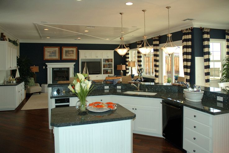 Dark Navy Walls And White Cabinets Are Balance Matching