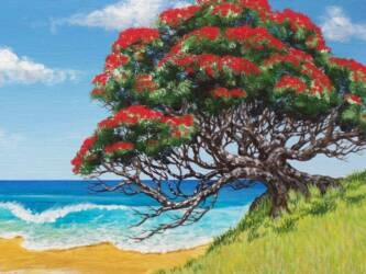 POHUTUKAWA PAINTING WORKSHOP -- I just love saying the Pohutukawa blooms in Eketahuna!!