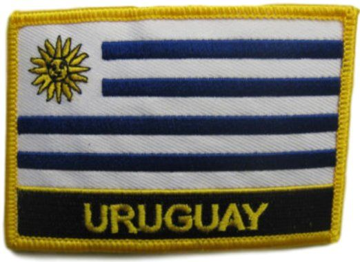 "[Single Count] Custom and Unique (2 1/4"" by 3 1/4"" Inches) World Sights Travel Souvenir Uruguay Text Flag Iron On Embroidered Applique Patch {Black, White, Gold & Black Colors}"