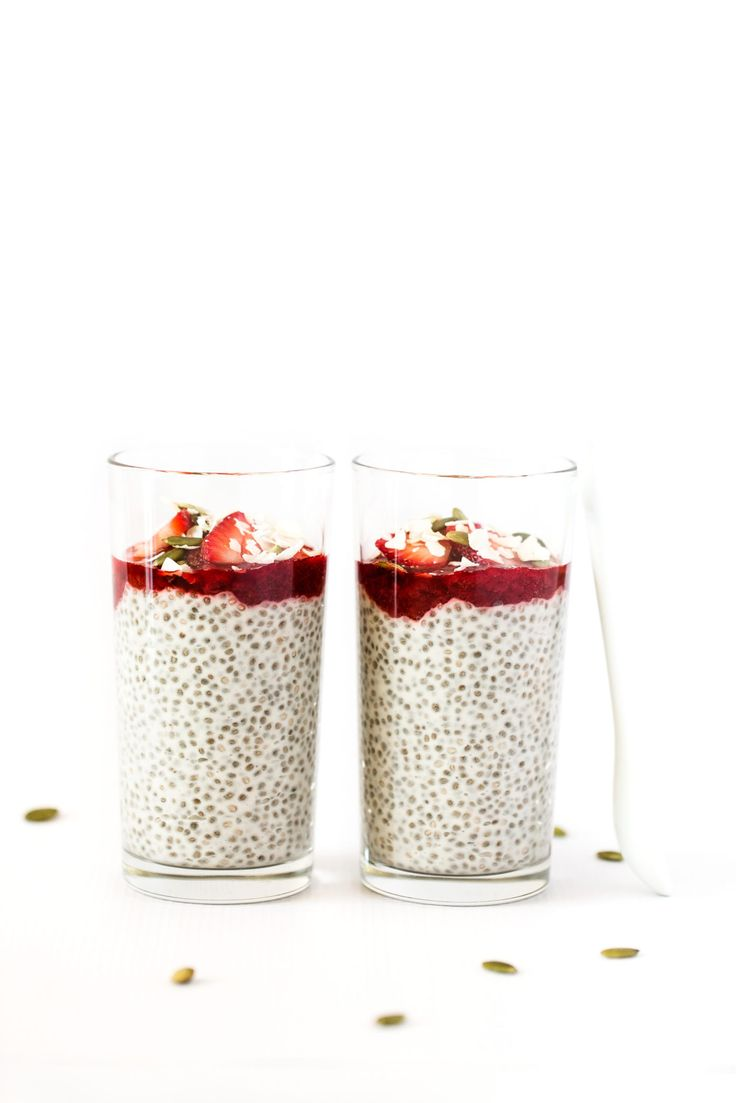 Coconut Yogurt Chia Seed Pudding Parfaits with Strawberry Jam | Ultra creamy and made with all whole-food, plant-based ingredients! Vegan