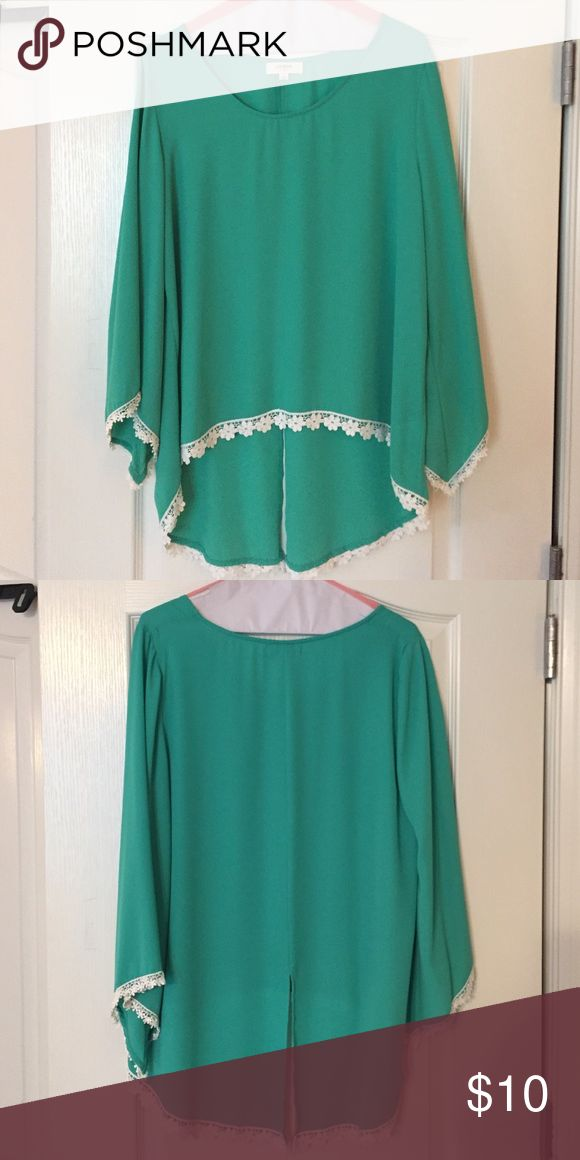 Umgee shirt with lace detail Turquoise shirt with flowered lace details. Umgee Tops Blouses