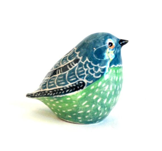 clay bird sculpture blue green by ecorock on Etsy, $35.00