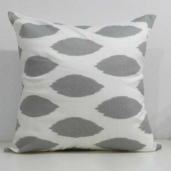 New 18x18 inch Designer Handmade Pillow Cases in grey ikat