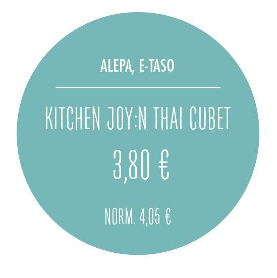 Kitchen Joy:n Thai Cubet 3,80 €. Norm. 4,05 €. Alepa, E-taso.