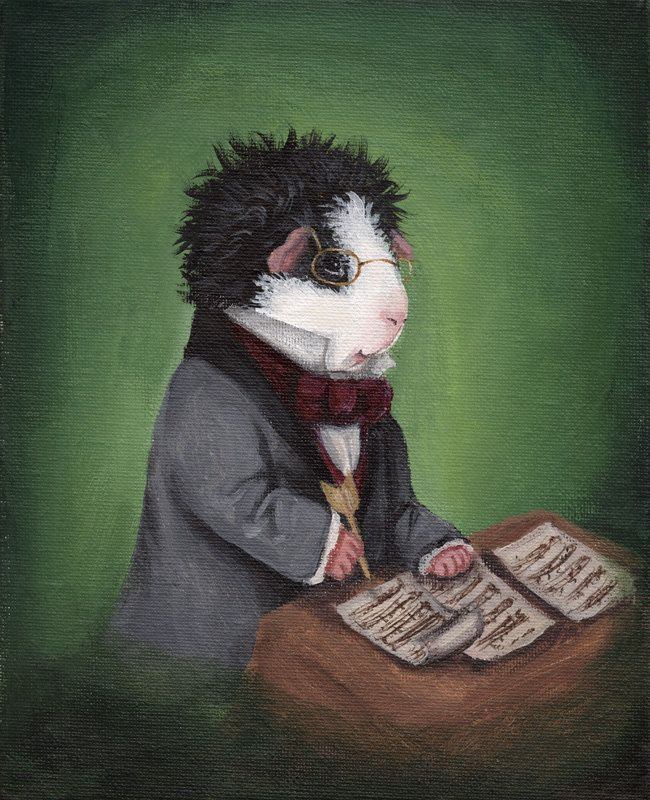 Franz Schubert Guinea Pig Art Print via Etsy. This adorable little Austrian prodigy is ready to fill your heart with lieder (that's German for song). This art print features Franz Schubert sitting at his writing desk, proud as a peacock after penning the final notes of one of his Moments Musicaux. Dressed in a handsome gray coat with a rich burgundy cravat and that signature popped collar, Schubert is looking quite suave with his gold spectacles and tousled texel fur.