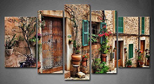 5 Panel Wall Art Streets Of Old Mediterranean Towns Flower Door Windows Painting The Picture Print On Canvas Architecture Pictures For Home Decor Decoration Gift piece (Stretched By Wooden Frame,Ready To Hang)