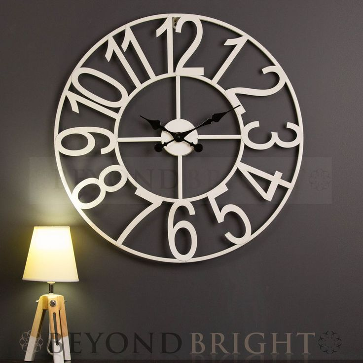 Large Wall Clock 65cm WHITE NUMBERS Metal Industrial French Provincial Iron NEW in Home & Garden, Home Décor, Clocks | eBay!