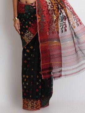 Black-Multi-Color Cotton Zari Dhakai Jamdani Saree