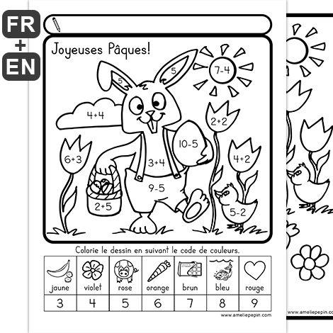 Fichiers PDF téléchargeables Langues: français et anglais En noir et blanc uniquement 4 pages, différents niveaux  Page 1: aucun code de couleurs Page 2: numéros seulement Page 3: additions et soustractions Page 4: multiplications et divisions
