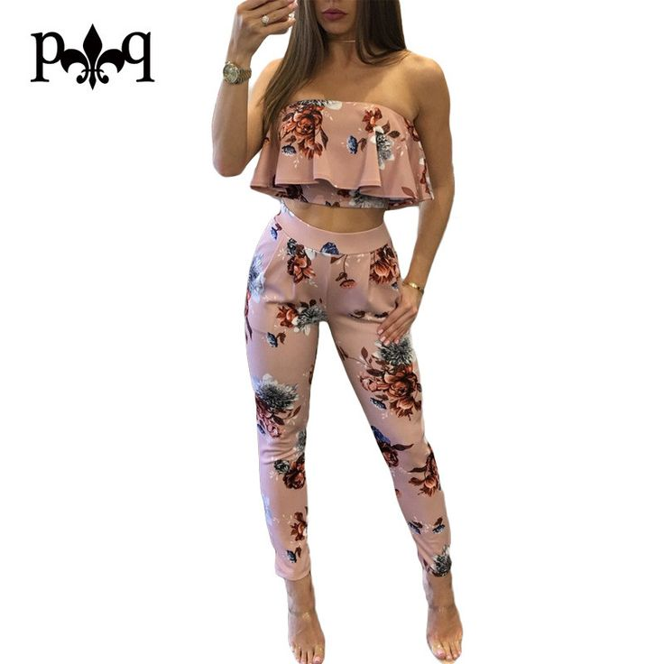 Hilove Summer Ladies Jumpsuit Sexy Off Shoulder Women Rompers Ruffle Print Bodycon Jumpsuits Night Club Party Wear Overalls