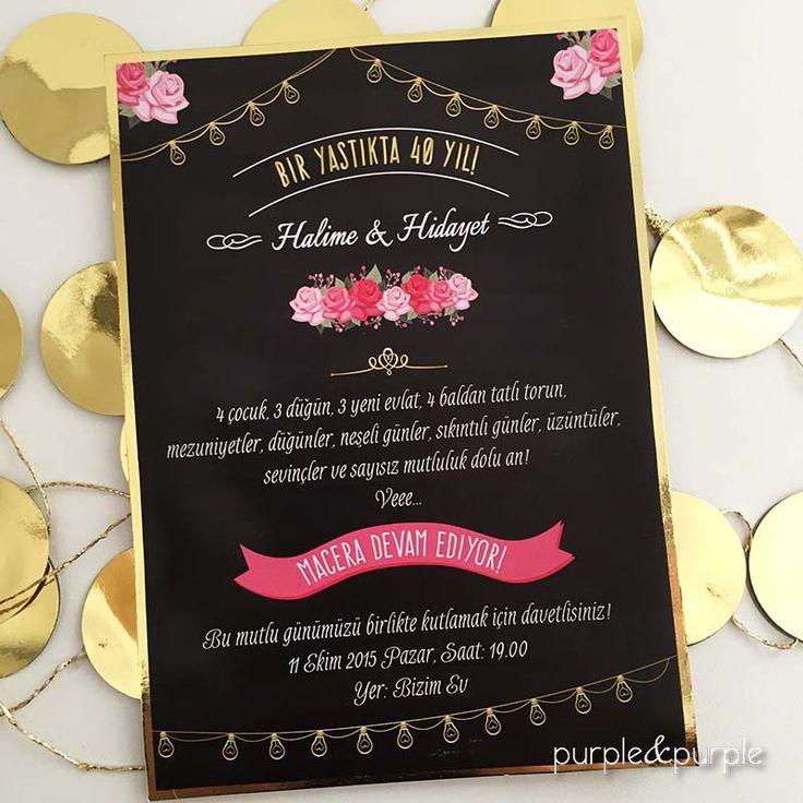 40. Evlilik Yıldönümü Davetiyesi, Kara tahta düğün davetiyesi
