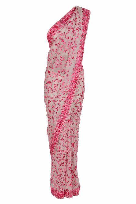 Ivory-Pink Heritage Parsi Gara Hand Embroidered Saree