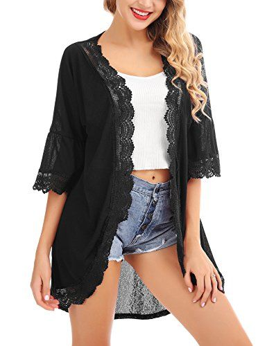 f2c3983fe4d Great for FISOUL Women s Cardigan Cover up Casual Loose 3 4 Bell Sleeve  Lace Kimono Cardigan Blouse Top S-XXL online.   18.19  weloveoffer from top  store