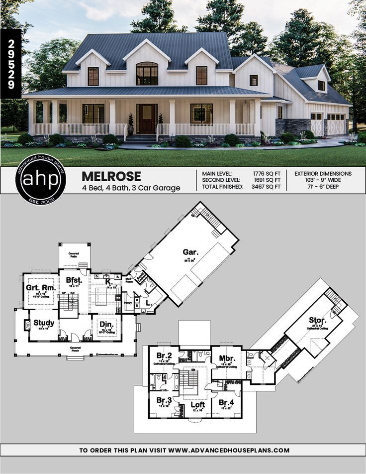 Melrose 2 Story Modern Farmhouse House Plan Modern