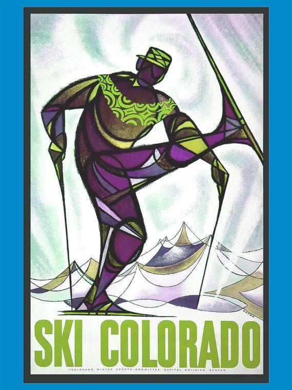 Ski Colorado Travel Poster   Ski the Rocky by NewAmericana on Etsy