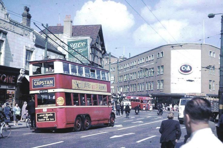 Double decker trolleybus at Kingston town centre