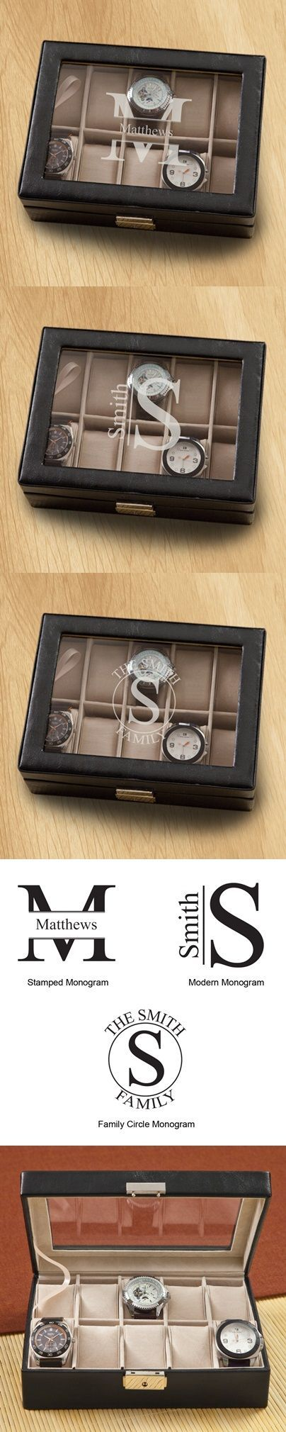 Monogrammed Men's Hinged-Lid Black Leather Watch Box