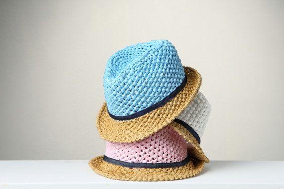 Kid's summer hats, Raffia crochet hats, fedora style hats