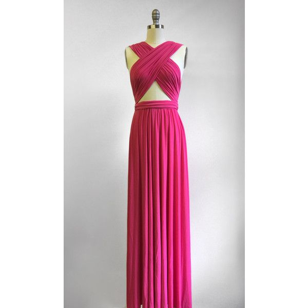 Hot Pink Long Floor Length Ball Gown Infinity Dress Convertible Formal... ($49) ❤ liked on Polyvore featuring dresses, gowns, grey, women's clothing, formal evening dresses, long wrap dress, formal ball gowns, floor length formal gowns and grey formal dresses
