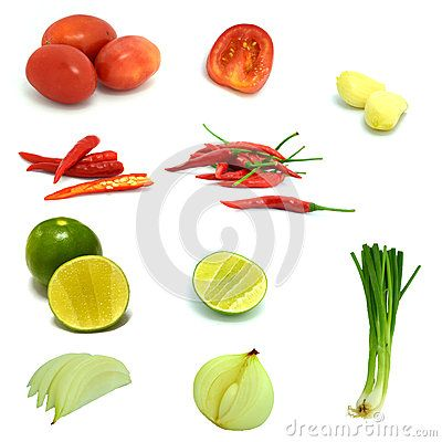 A set of isolated mixed vegetable