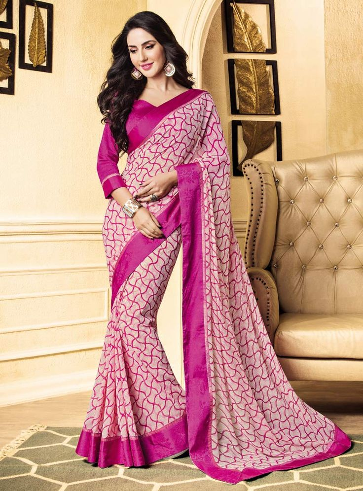 Pink Georgette Printed Saree With Blouse 85334
