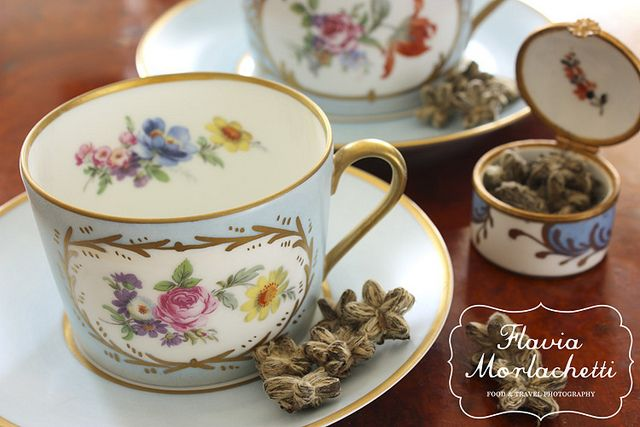 Floral french teacups - Limoges porcelain