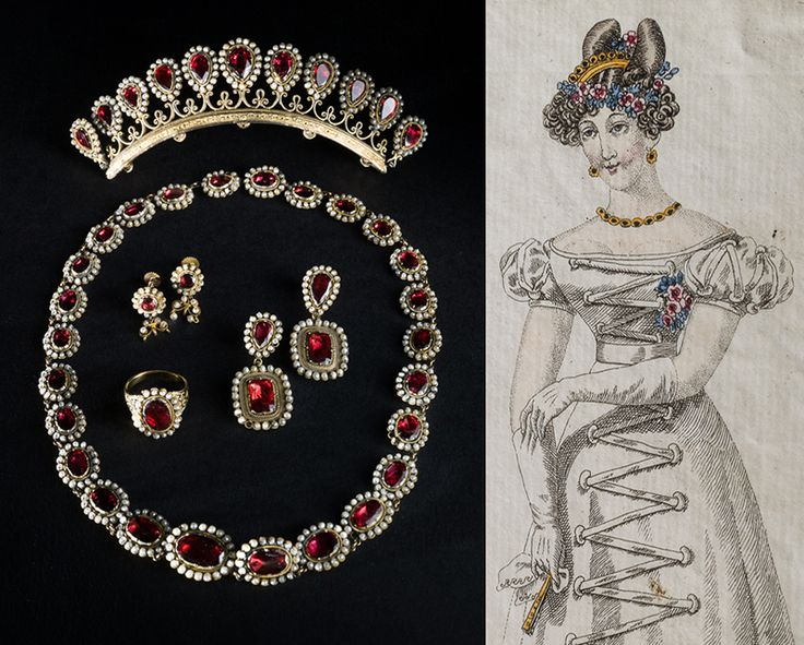 A set made of gold with oriental pearls and garnets, early 1800s and a fashion plate with a similar set with a tiara, 1824. Images by Mats Landin, Nordiska museet used under a Creative Commons Attribution-NonCommercial-NoDerivatives.